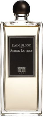 "Serge Lutens Parfums Daim Blond: A rare, subtle ""ladylike"" leather fragrance, with a chypre floral scent and notes of Tuscan iris, apricot kernel, musk, hawthorn, jasmine, cardamom and heliotrope."