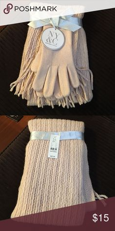 NY & Company glove and scarf set Glove and scarf set, beige with some glitter in scarf. Never used. new york and company Other