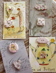 ButtonArtMuseum.com - button cards by Julie Whitmore Pottery, via Flickr