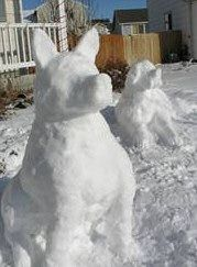 *Snow dogs, it's not a snow man, but what a great idea for a town that has lots of snow!