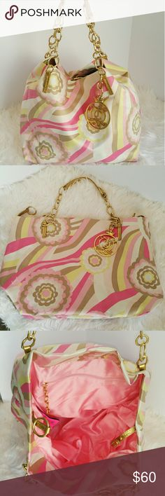 "SALE Juicy Couture Pink & Gold Hobo Bag Adorable Juicy Couture Pink & Gold Hobo Bag Pink Satin Lining,  Magnetic Snap closure, Inside zippered pocket, Dust bag included Gold Accent Chain Strap Great Condition a few marks on bottom see photo 12H x 181/2""W lots of room perfect for travel or if you carry alot of stuff in your bag ??? Juicy Couture Bags Hobos"