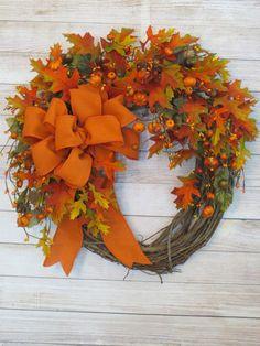 Autumn Wreath, Fall Wreath, Fall Decor, Thanksgiving Wreath, Wreath with Autumn Leaves