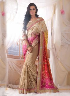 Neha Dhupia Beige Net Designer Saree  http://www.ethnicoutfits.com Email : support@ethnicoutfits.com Call : +918140714515 What's app : +918141377746