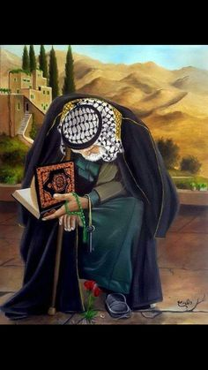An elderly Palestinian man holding the Quran. الرسام الفلسطيني وائل ربيع Insh'Allah, Palestine will one day be free. Palestine Art, Palestine History, Muslim Images, Muslim Culture, Islamic Cartoon, Arabian Art, Anime Muslim, Islamic Paintings, Foto Real
