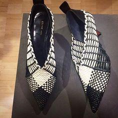 WEBSTA @ bergdorfs - On the it-girl wish list: woven, monochrome, wonderful @celine. Shop now in the shoe salon.