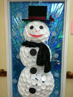 Snowman door decoration out of foam cups with instructions for Snowman made out of cups