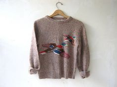 vintage duck sweater. speckled wool sweater.