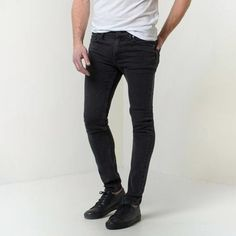 Mens Skinny Raw Jeans in Worn Black | DSTLD