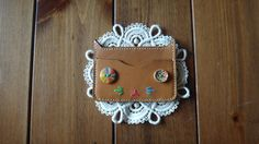 Adorable Beige Colored Genuine Leather Cat Card by KimmysCraft