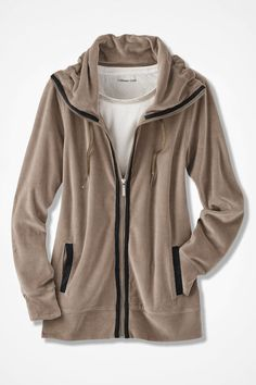 Velour du Jour Sueded-Trim Jacket - Coldwater Creek