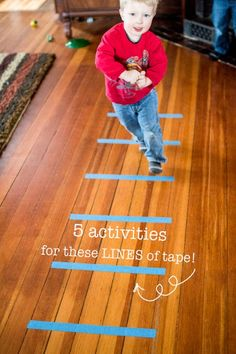 5 simple activities to do with the same 6 lines of tape that will get your kids up and moving!