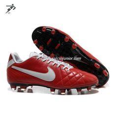 Scarpe Calcio Tacchetti Nike Tiempos Legend IV FG Bright Rosso Bianco Speciale