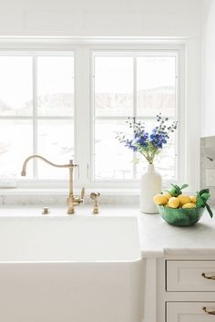 brass faucet big windows farm sink