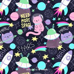 Colorful doodle cats in the space and words pattern Free Vector Cat Pattern Wallpaper, Cat Wallpaper, Desenhos Halloween, Word Patterns, Galaxy Pattern, Space Doodles, Banners, Space Illustration, Gift Wrapper