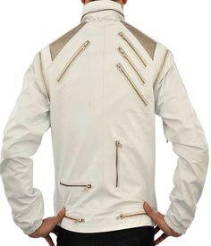 Michael Jackson Beat It White Leather Jacket at Amazon Men's Clothing store: