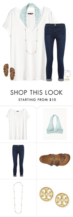 """((;"" by secfashion13 ❤ liked on Polyvore featuring H&M, Free People, Frame, Birkenstock, Kendra Scott and Tory Burch"