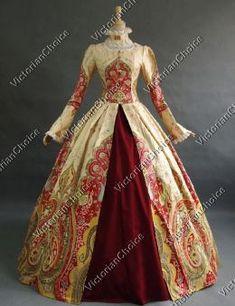 Victorian Renaissance Floral Print Prom Dress Ball Gown Reenactment Clothing