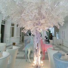 There is even a weird reindeer tree set amidst this white dining room in McAlister Mansion in Penang. #travel #malaysia #penang #luxury #luxe #hotel www.tomboy-tarts.com