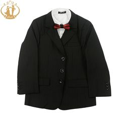 (28.33$)  Watch here - http://aih9z.worlditems.win/all/product.php?id=32578715382 - Nimble Fashion Three Pieces Boys Blazer Coat Vest Pants Striped Black School Boys Formal Suits 6-13Y