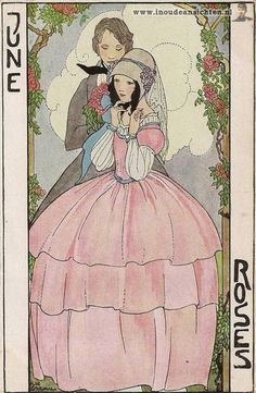 """""""Roses"""", June, Months of the year postcard series, Rie Cramer (1887-1977), Netherlands, (134-4)"""