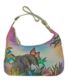 Another great find on #zulily! Pink & Blue Elephant Hand-Painted Leather Shoulder Bag #zulilyfinds