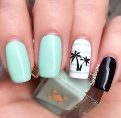 Having short nails is extremely practical. The problem is so many nail art and manicure designs that you'll find online Bright Nail Art, Bright Summer Nails, Cute Summer Nails, Cute Nails, Summery Nails, Simple Nails, Bright Colors, Mint Nails, Gel Nails