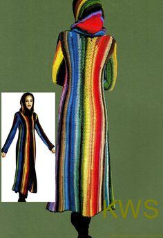 Vintage 70's, Crochet Pattern, Hippie Coat, Hooded Coat, RAINBOW Coat, Retro…