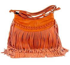 Faux Leather + Suede Boho bag with Braid Fringe detail