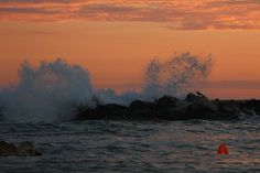 waves at the sunset