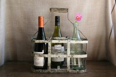 Vintage French Bottle Carrier Zinc and Timber Holder or Caddy Country Cottage Rustic Style on Etsy, $95.64