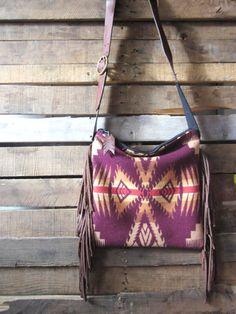 Plum tan and oragne Navajo print purse with door MercyGreyDesignCo, $170.00