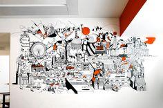 Redesign für das Nike HQ in London: Wandbild von Chris Martin