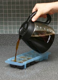 Make coffee ice cubes for your iced coffee. No more watered-down iced coffee!
