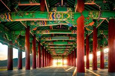 Old Korean architectural art on a public place in Yeosu, South Korea