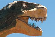Stand 86 feet high in the mouth of the World's Largest Dinosaur and see the view from behind her pearly whites