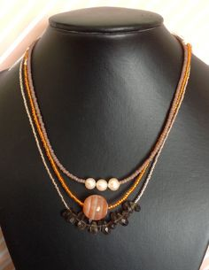 3 x Necklaces; Smokey Quartz, Orange Agate & Peach Pearls, Silver Plated Clasps. by RosaJaanLoves on Etsy https://www.etsy.com/listing/247815675/3-x-necklaces-smokey-quartz-orange-agate