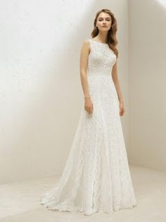 Pronovias One Available at It's Your Day Bridal Boutique. Lace Wedding Dress, Lace Bride, Fit And Flare Wedding Dress, Stunning Wedding Dresses, Classic Wedding Dress, Wedding Dress Shopping, Perfect Wedding Dress, Bridal Wedding Dresses, Dream Wedding Dresses
