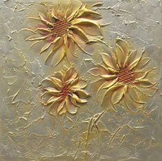 Original Abstract Metallic Flower Painting Palette Knife Heavy