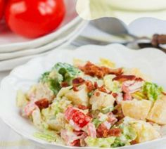 This potato salad is all about the bacon and its' role in the all-time classic American sandwich, the BLT