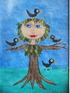 Small Folk Art Framed Painting Nfac Tree with Birds | eBay