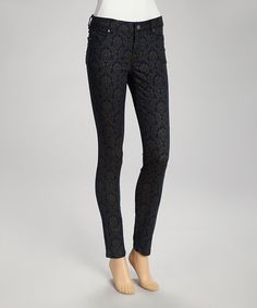 Take a look at this Blue Damask Jeggings by MAKERS of True Originals on #zulily today!