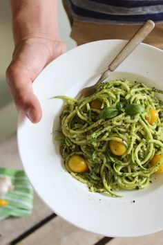 Zucchini Pasta with Pesto. Get out your spiralizer to enjoy the fresh flavors of summer zucchini ripe tomatoes & rich basil pesto make for a healthy dinner treat! Basil Pesto Recipes, Zucchini Noodle Recipes, Herb Recipes, Zucchini Pasta, Raw Food Recipes, Vegetarian Recipes, Diet Recipes, Cooking Recipes, Healthy Recipes
