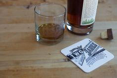 Letterpressed coaster for Two James Distillery. Photo by Erika Lindsey @Erika Lindsay  44FortyFour Studio is a letterpress shop in the heart of Midtown Detroit. The studio is open on Thursday. For appointments please email info@44FortyFour.com.