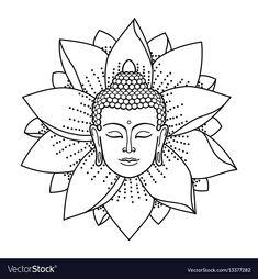 Buddha Head and Lotus isolated on white background. Sign for tattoo, textile pri… Buddha Head and Lotus isolated on white background. Sign for tattoo, textile print, mascots and amulets. Buddha Tattoo Design, Buddha Tattoos, Buddha Lotus Tattoo, Hindu Tattoos, Symbol Tattoos, Buddha Kunst, Buddha Kopf, Buddha Art, Buddha Head