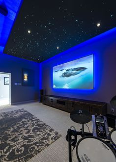 Hallway Ceiling, Star Ceiling, Home Cinema Room, Home Theater Rooms, Stone Wallpaper, Room Wallpaper, Home Lighting Design, Ceiling Design, Sleepover Room