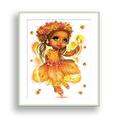 Autumn Fairy Wall Art Girls Bedroom Decor African American Fairy Princess Nursery Wall Decor Gold Fairy Theme Kids Playroom Fairy Wall Decor by PinwheelCanvasArt