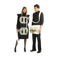 Light up your party with this humorous costume. Poly foam socket tunic, and plug waist band. Includes two costumes for the price of one. Fits most adult sizes. - Light up your party with this humorous