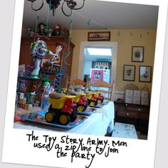 Toy Story birthday party idea. LOVE the Army men on the zip-line!