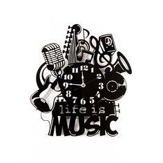 Large Wall Clock Laser Cut Acrylic Life Is Music by WoodEnvyDotCom Изделия Из Пластинок, Музыкальный Декор, Фото Часов, Мультфильмы, Ремесло, Виниловые Пластинки, Высокие Стены, Деревянные Часы, Переработка