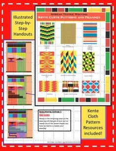 Colorful Kente Cloth Inspired Weaving on Cardboard Looms! African Textiles, African Fabric, Teaching Art, Teaching Packs, Textile Patterns, Floral Patterns, African Art Projects, Third Grade Art, Art Lessons